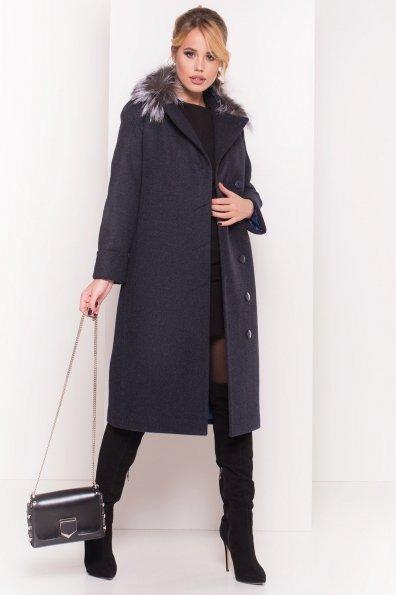 Зимнее приталенное пальто с поясом Богема 5706 Цвет: Т.синий 6