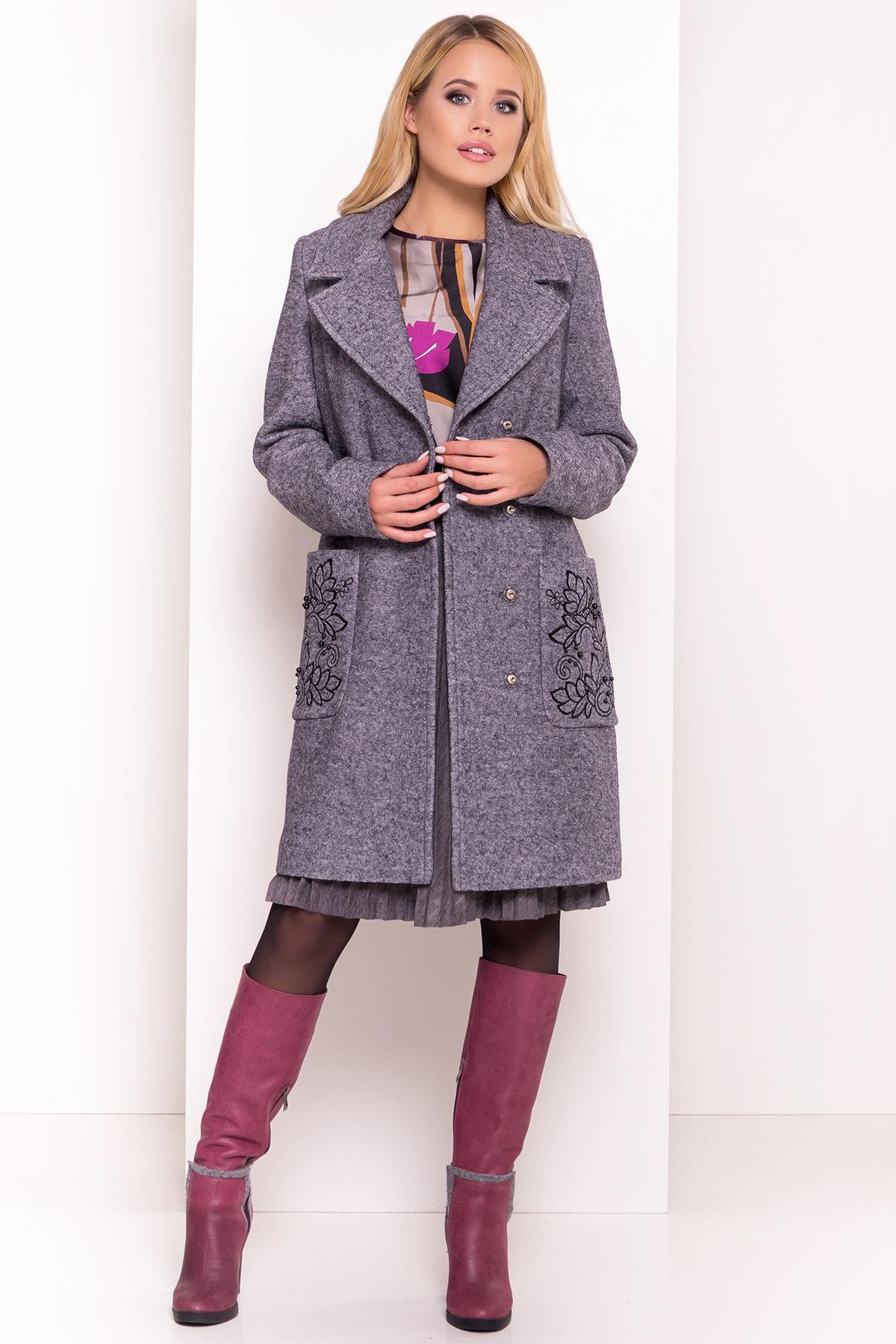 Демисезонное пальто из варенной шерсти Милена 5273 АРТ. 36892 Цвет: Серый Темный LW-47 - фото 3, интернет магазин tm-modus.ru