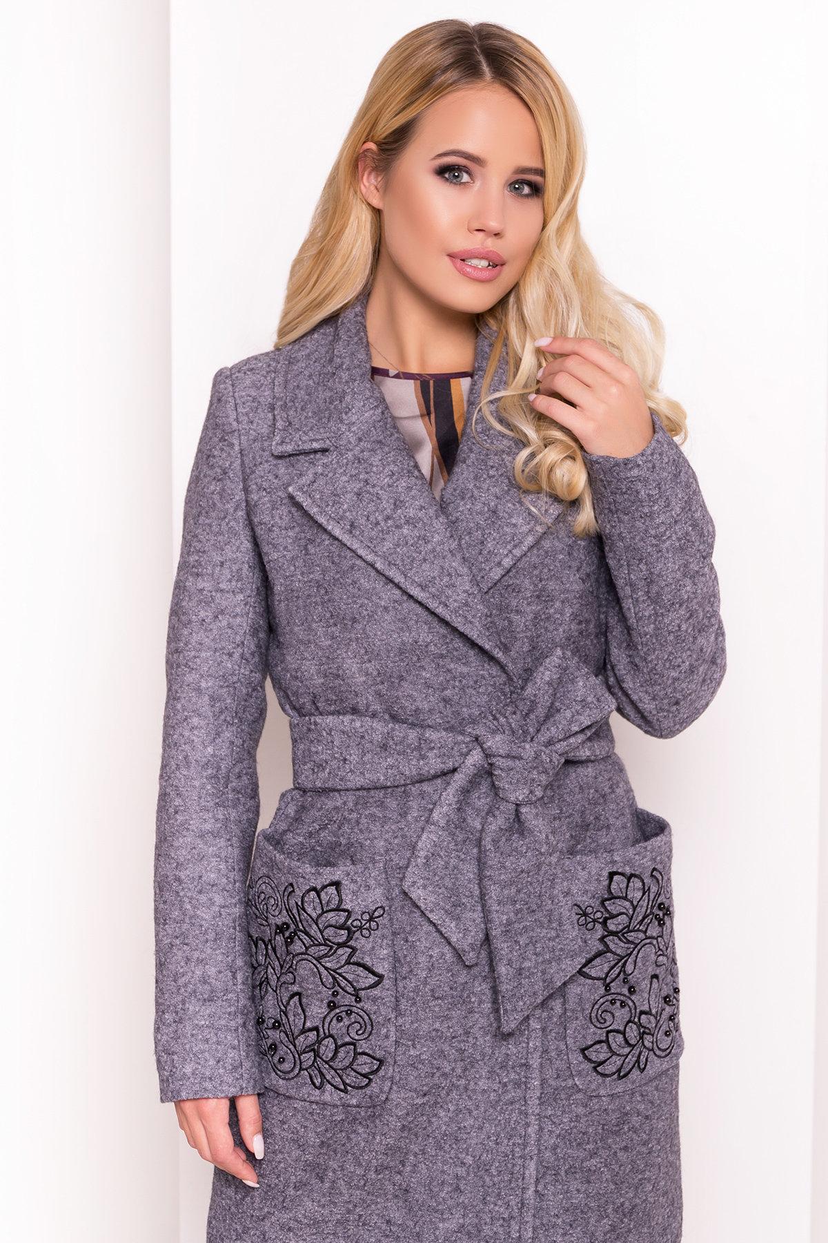 Демисезонное пальто из варенной шерсти Милена 5273 АРТ. 36892 Цвет: Серый Темный LW-47 - фото 5, интернет магазин tm-modus.ru