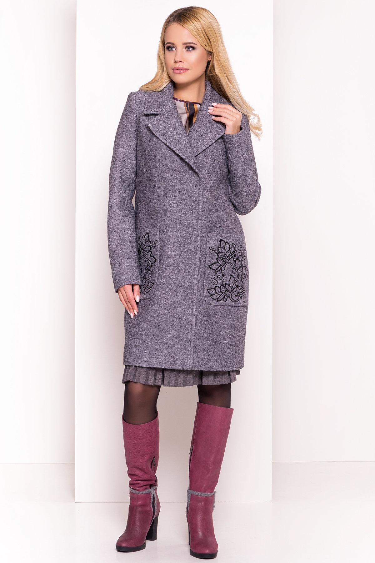 Демисезонное пальто из варенной шерсти Милена 5273 АРТ. 36892 Цвет: Серый Темный LW-47 - фото 4, интернет магазин tm-modus.ru