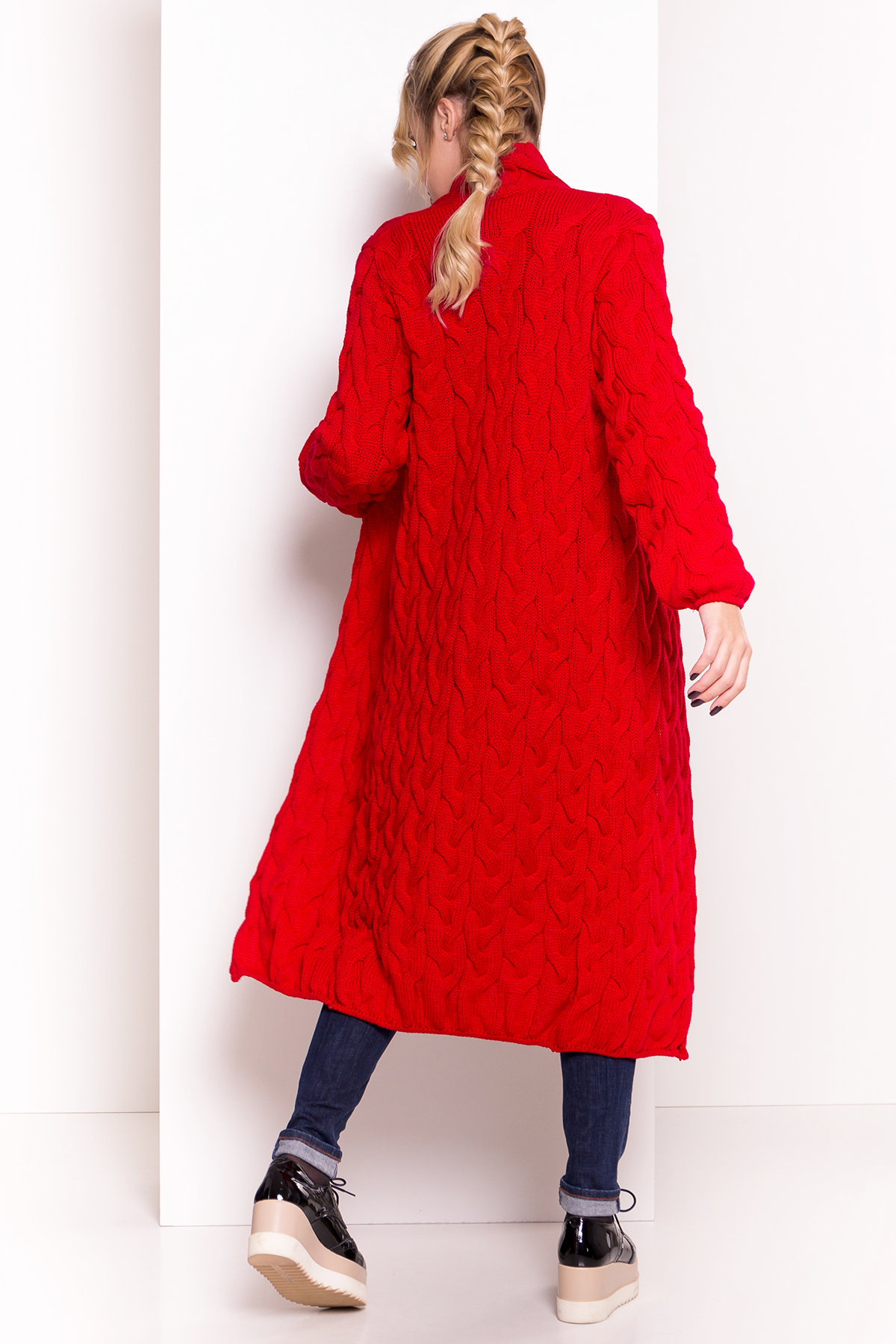 Кардиган длинный Лало АРТ. 7018 Цвет: Красный 2511 - фото 3, интернет магазин tm-modus.ru