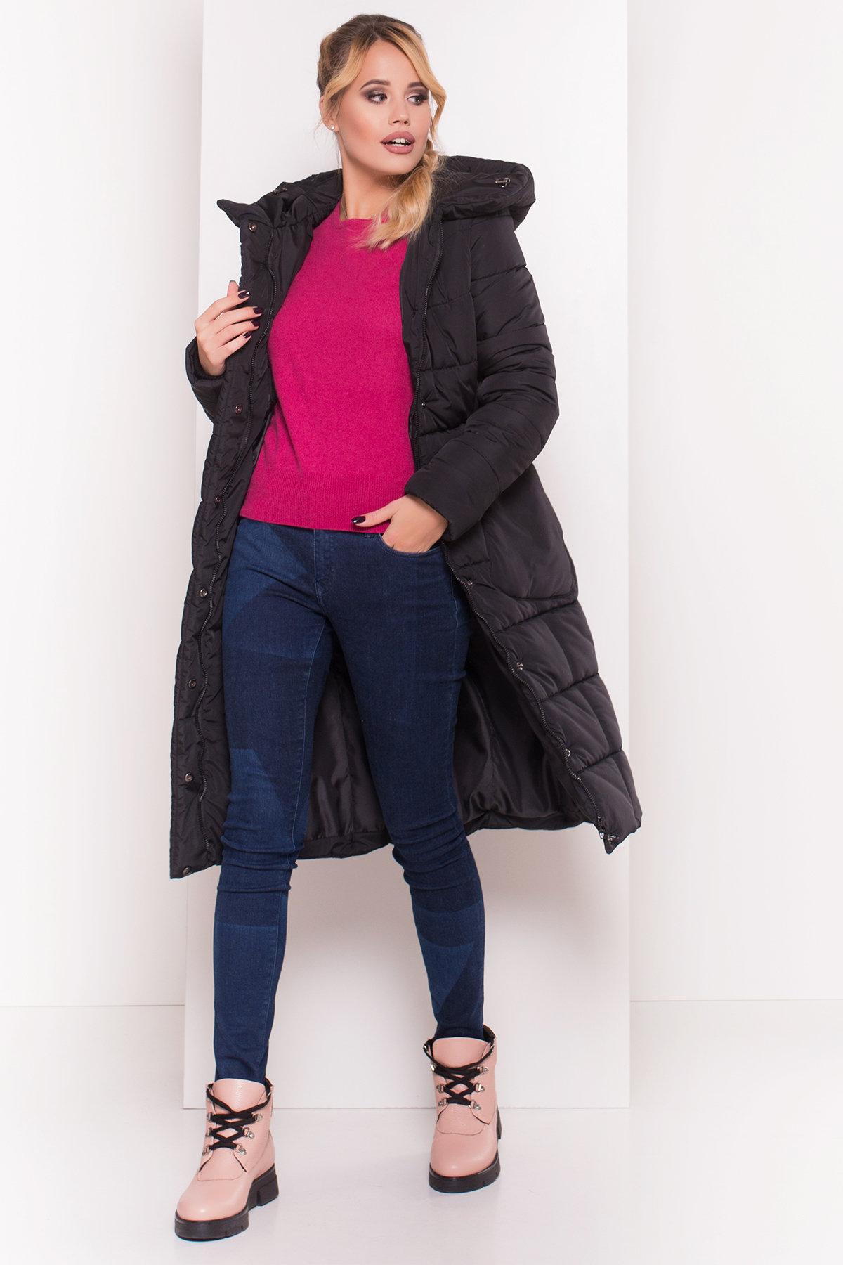 Пуховик-пальто с поясом Жако 5540 АРТ. 37335 Цвет: Черный - фото 3, интернет магазин tm-modus.ru