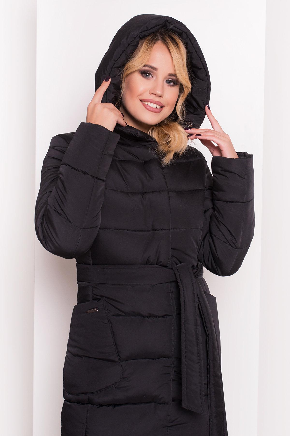 Пуховик-пальто с поясом Жако 5540 АРТ. 37335 Цвет: Черный - фото 5, интернет магазин tm-modus.ru