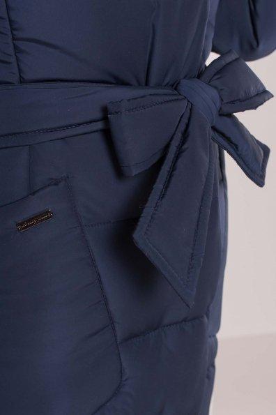 Пуховик-пальто с поясом Жако 5540 Цвет: Темно-синий