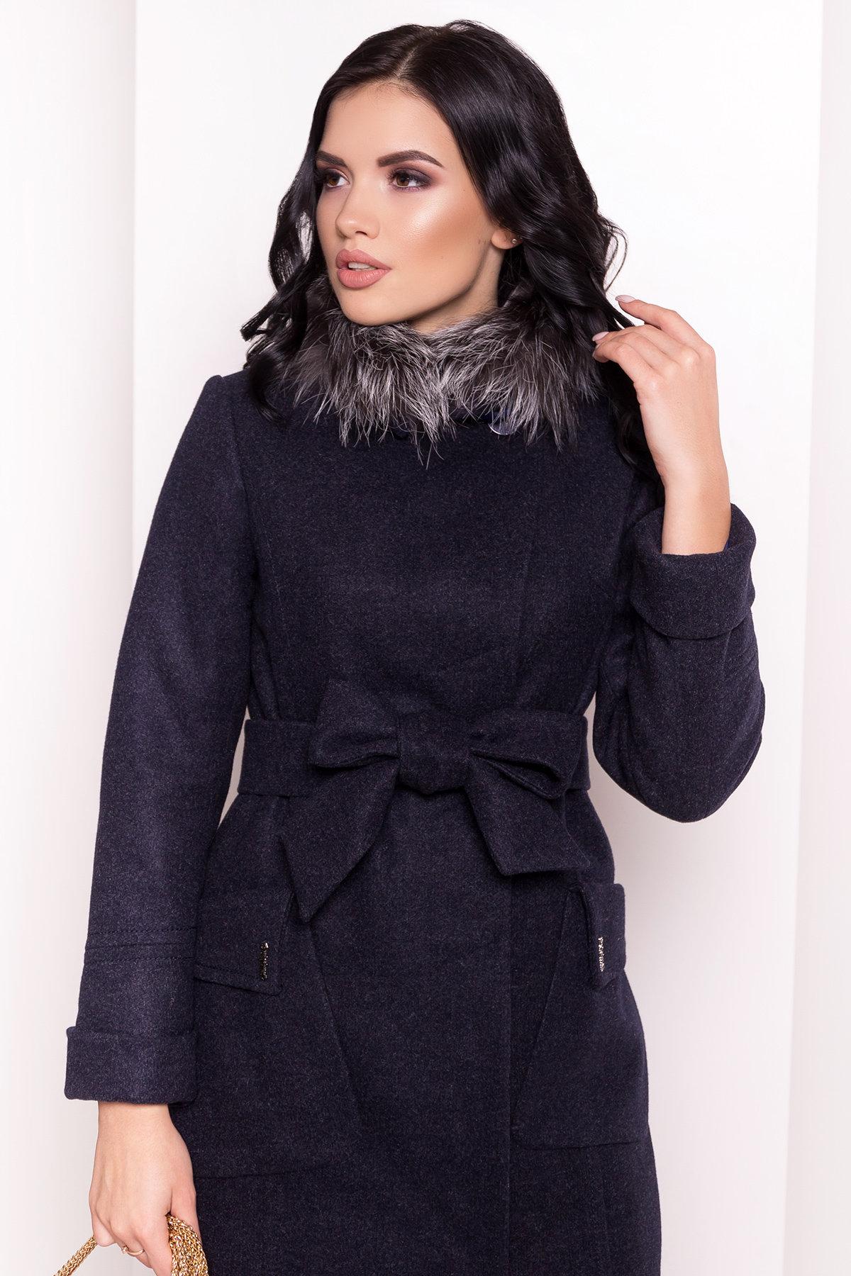 Зимнее пальто с мехом Стейси 5647 Цвет: Т.синий 6