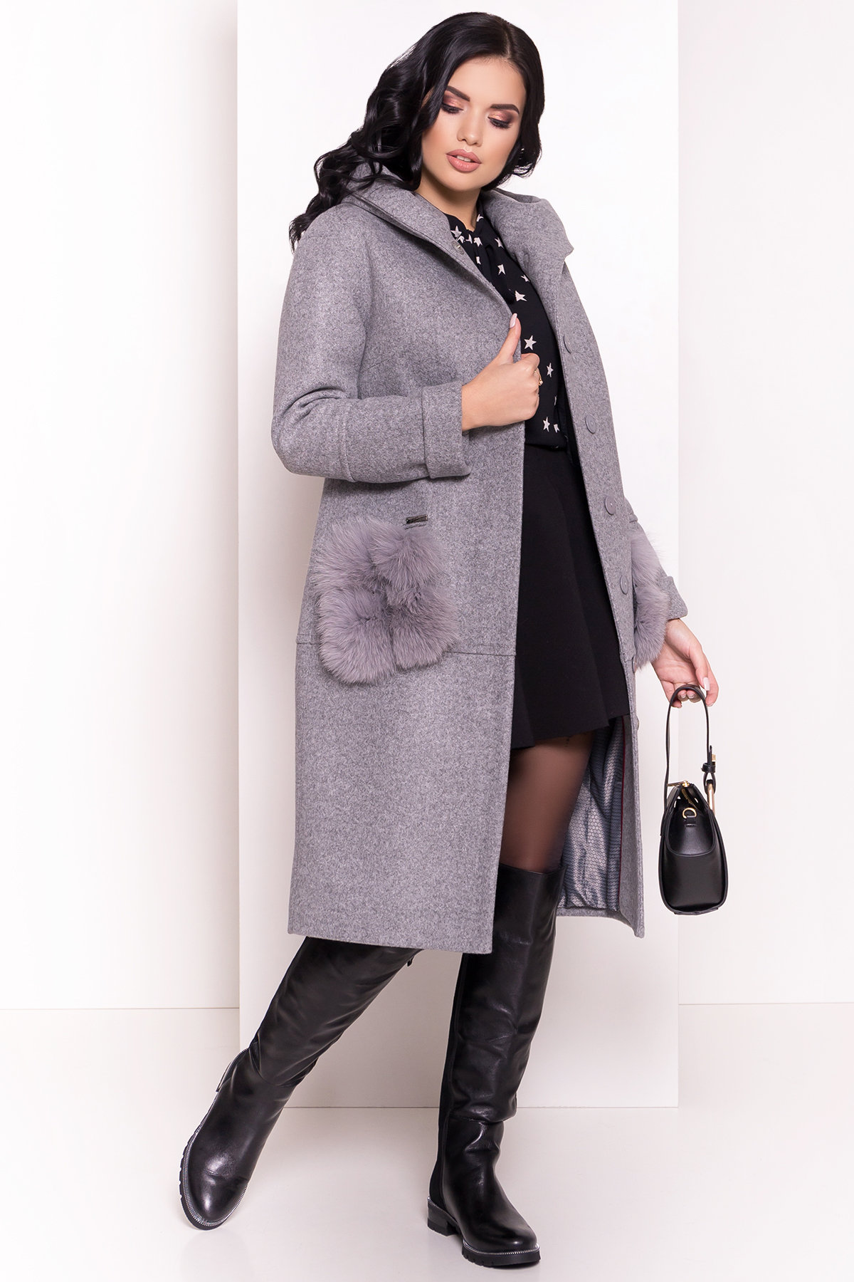 Пальто зима Анита 5762 АРТ. 38116 Цвет: Серый Светлый 77 - фото 3, интернет магазин tm-modus.ru