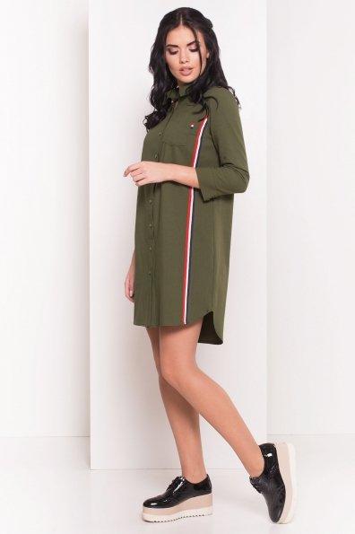 Прямое Платье-рубашка Энди 3/4 5574 Цвет: Хаки