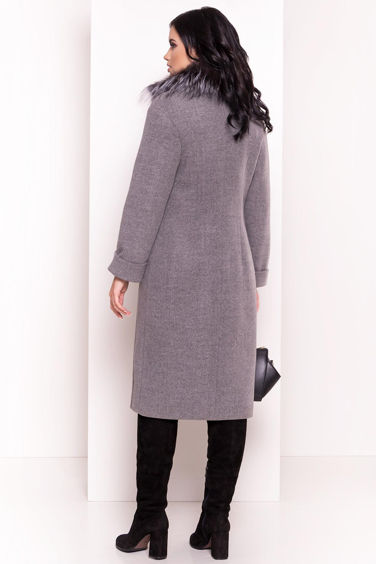 Зимнее приталенное пальто с поясом Богема 5706 АРТ. 38000 Цвет: Серый 18 - фото 2, интернет магазин tm-modus.ru
