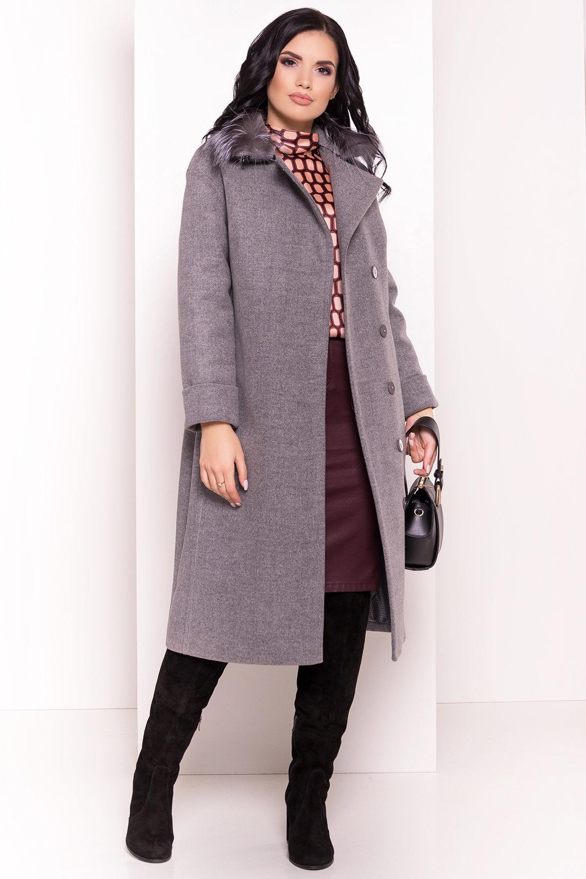 Зимнее приталенное пальто с поясом Богема 5706 АРТ. 38000 Цвет: Серый 18 - фото 3, интернет магазин tm-modus.ru
