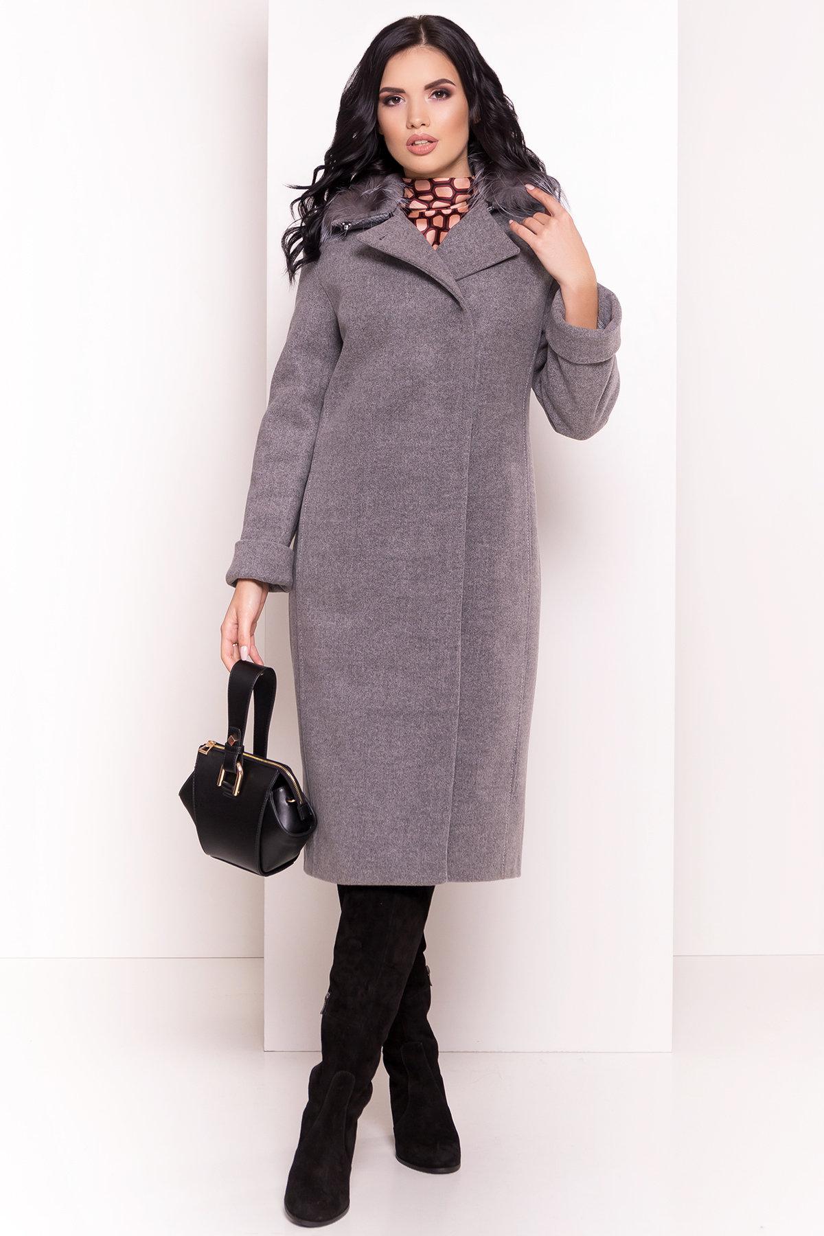 Зимнее приталенное пальто с поясом Богема 5706 АРТ. 38000 Цвет: Серый 18 - фото 4, интернет магазин tm-modus.ru