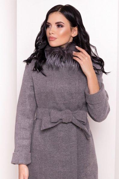 Зимнее приталенное пальто с поясом Богема 5706 Цвет: Серый 18