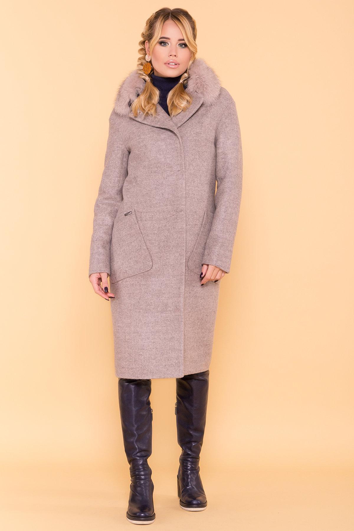 Зимнее пальто с натуральным песцом Анатес лайт 5570 АРТ. 38161 Цвет: Бежевый 31 - фото 4, интернет магазин tm-modus.ru