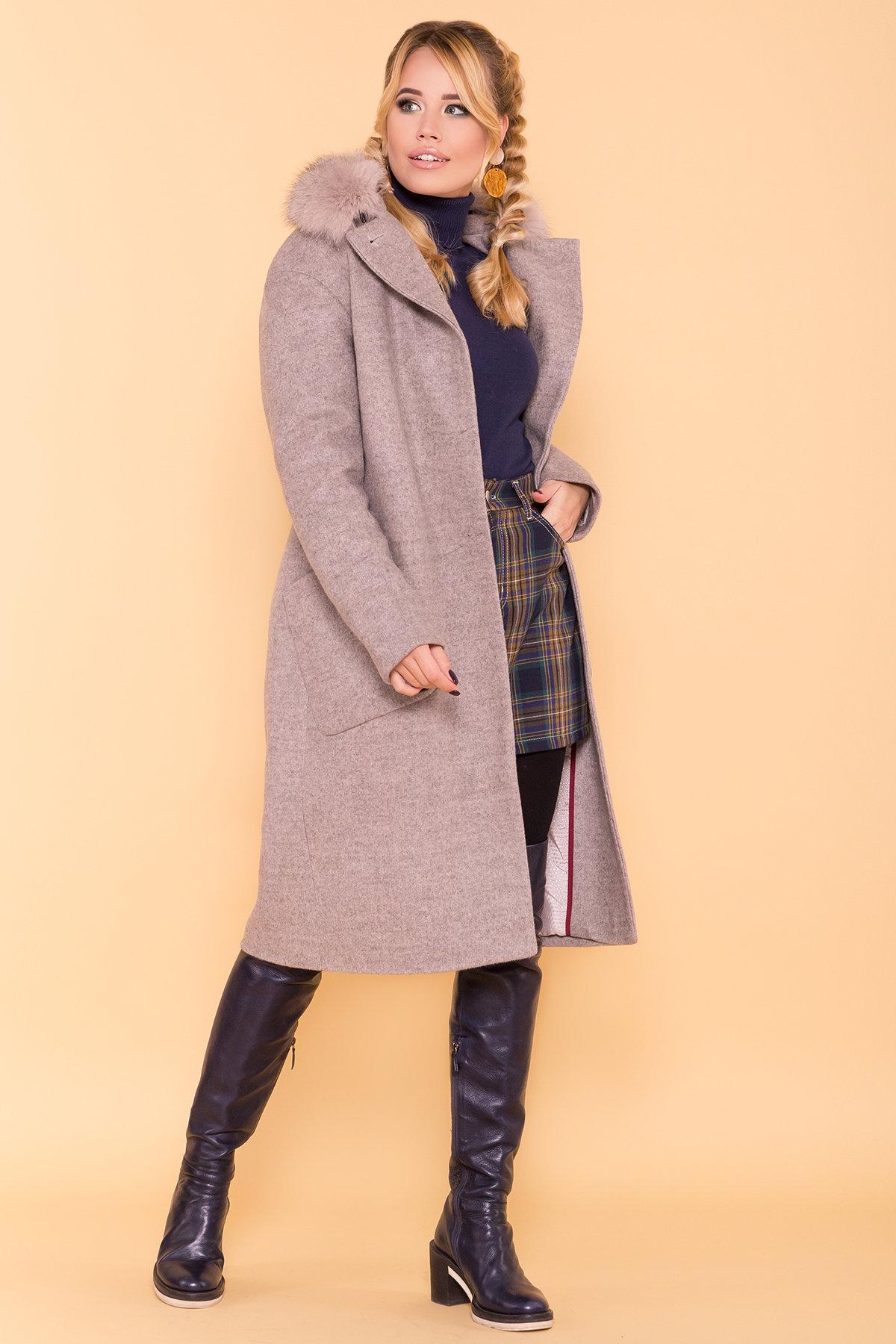 Зимнее пальто с натуральным песцом Анатес лайт 5570 АРТ. 38161 Цвет: Бежевый 31 - фото 3, интернет магазин tm-modus.ru