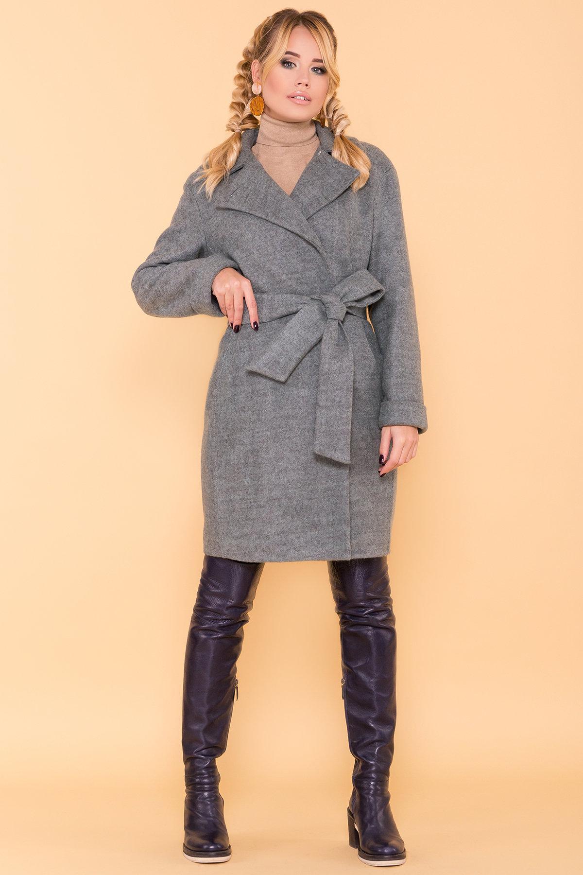 Классическое однобортное пальто зима с отложным воротником Приора 5835 Цвет: Олива