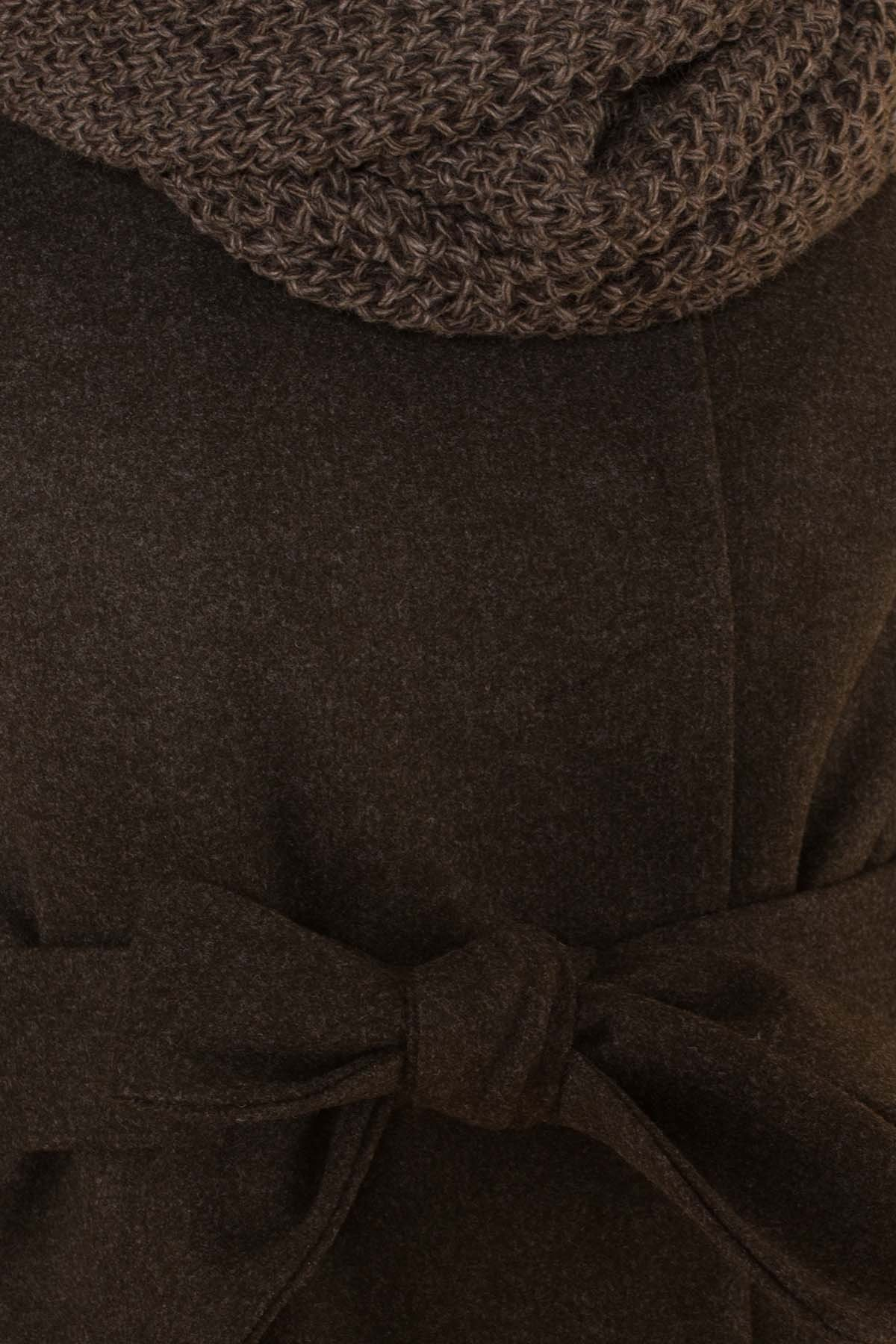 Классическое однобортное пальто зима с отложным воротником Приора 5835 Цвет: Хаки