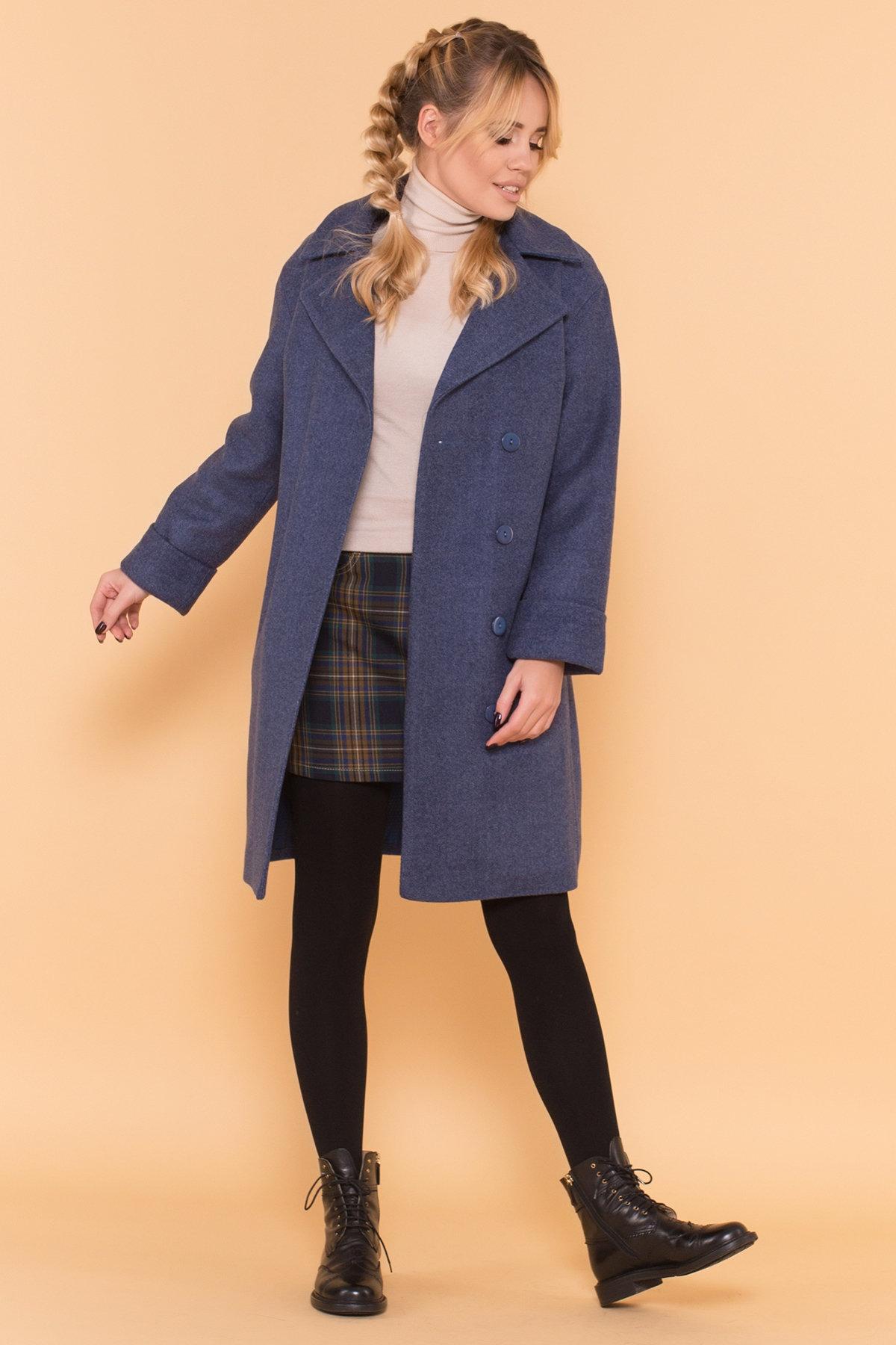 Классическое однобортное пальто зима с отложным воротником Приора 5835 АРТ. 39410 Цвет: Джинс - фото 3, интернет магазин tm-modus.ru
