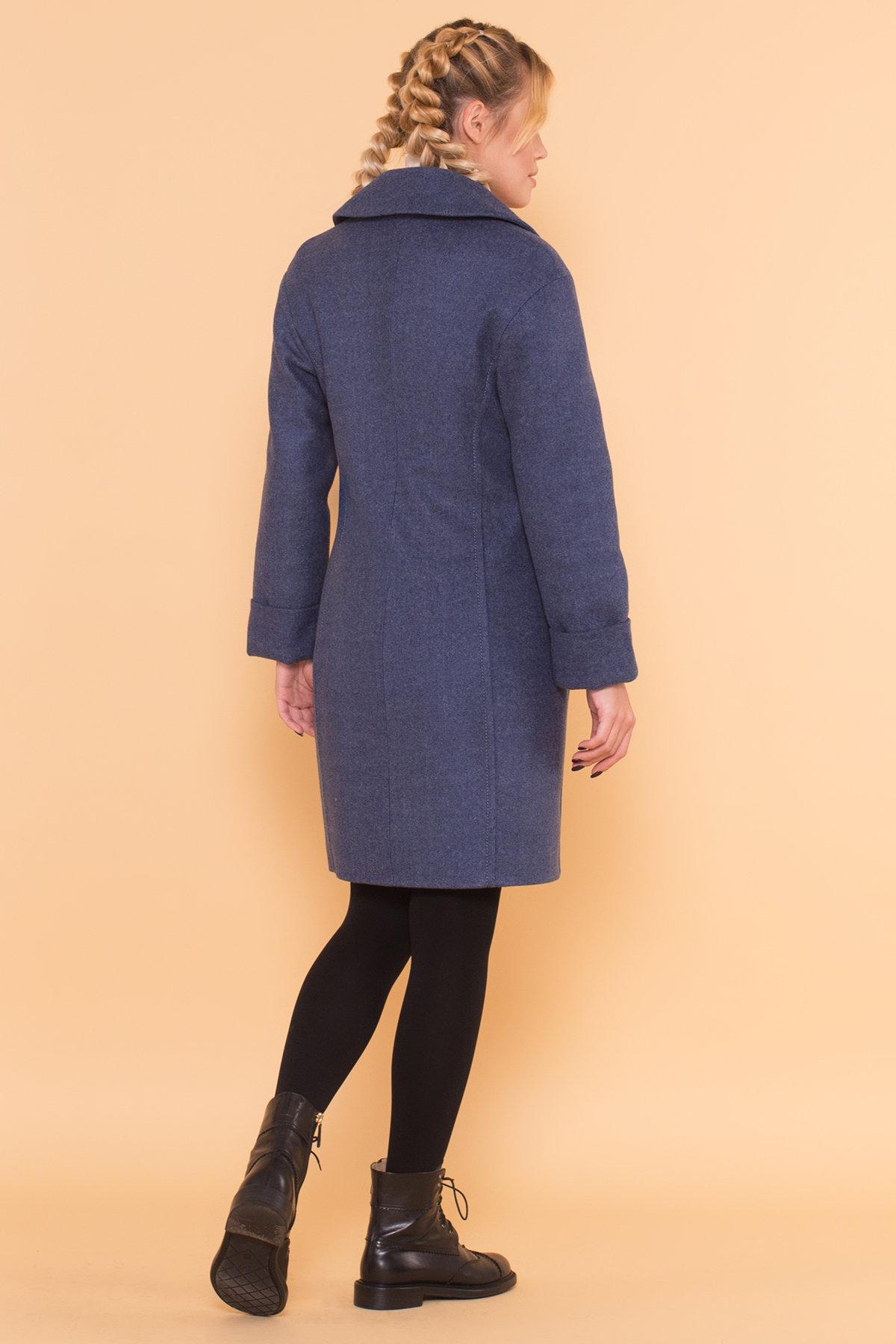 Классическое однобортное пальто зима с отложным воротником Приора 5835 АРТ. 39410 Цвет: Джинс - фото 2, интернет магазин tm-modus.ru