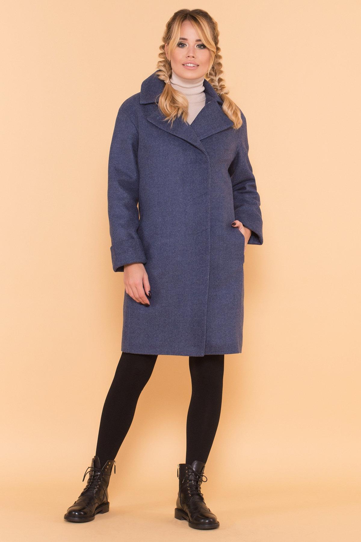 Классическое однобортное пальто зима с отложным воротником Приора 5835 АРТ. 39410 Цвет: Джинс - фото 4, интернет магазин tm-modus.ru