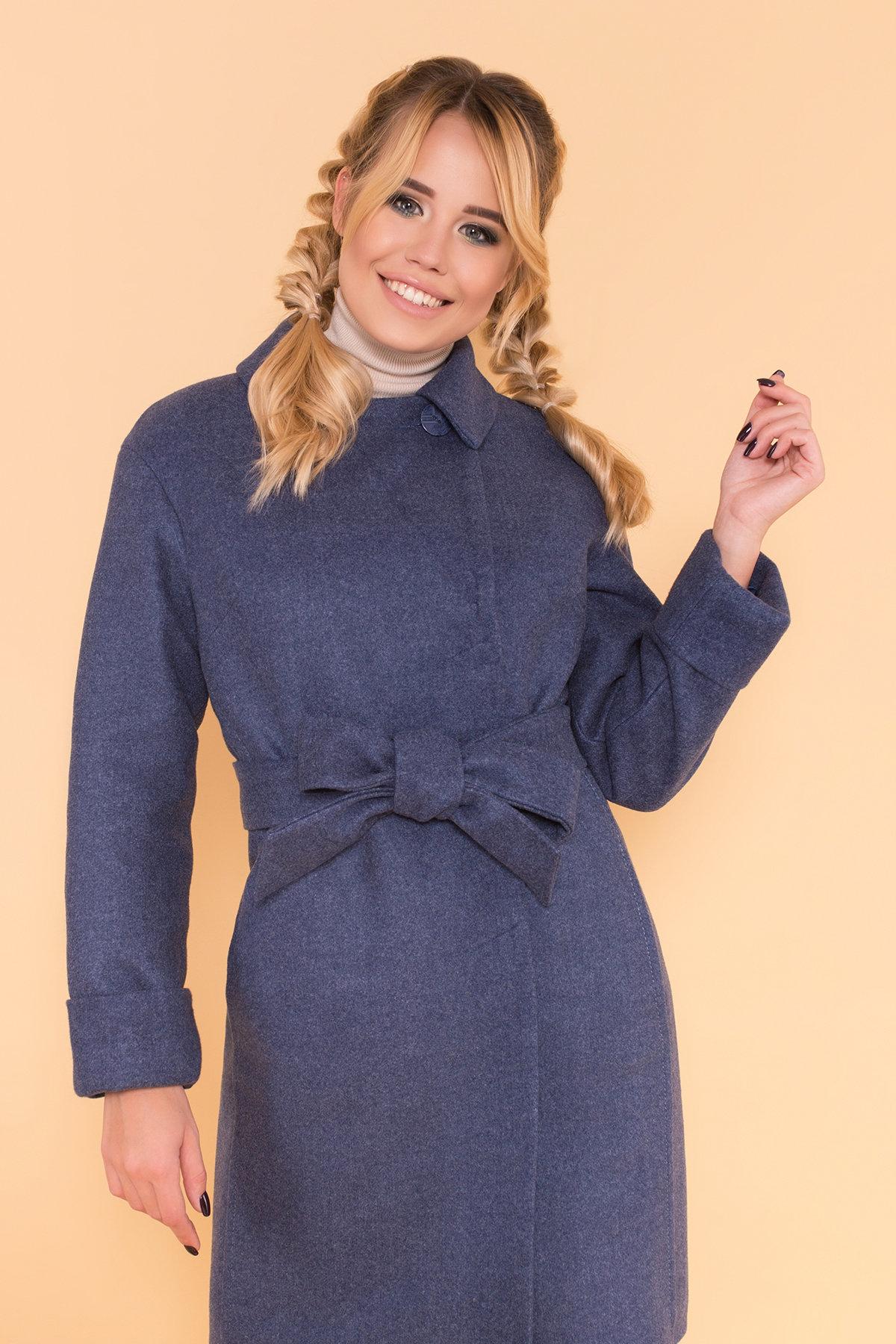 Классическое однобортное пальто зима с отложным воротником Приора 5835 АРТ. 39410 Цвет: Джинс - фото 5, интернет магазин tm-modus.ru