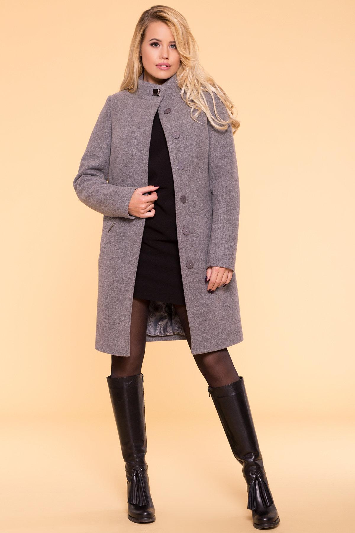 Пальто зима (шарф-хомут в комплекте) Люцея 5884 Цвет: Серый 18