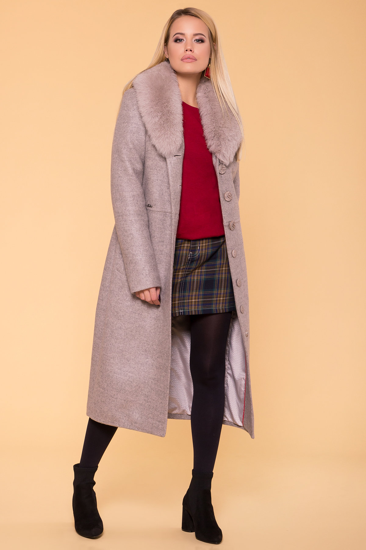 Пальто зима Габриэлла макси 5890 АРТ. 39456 Цвет: Бежевый 31 - фото 3, интернет магазин tm-modus.ru
