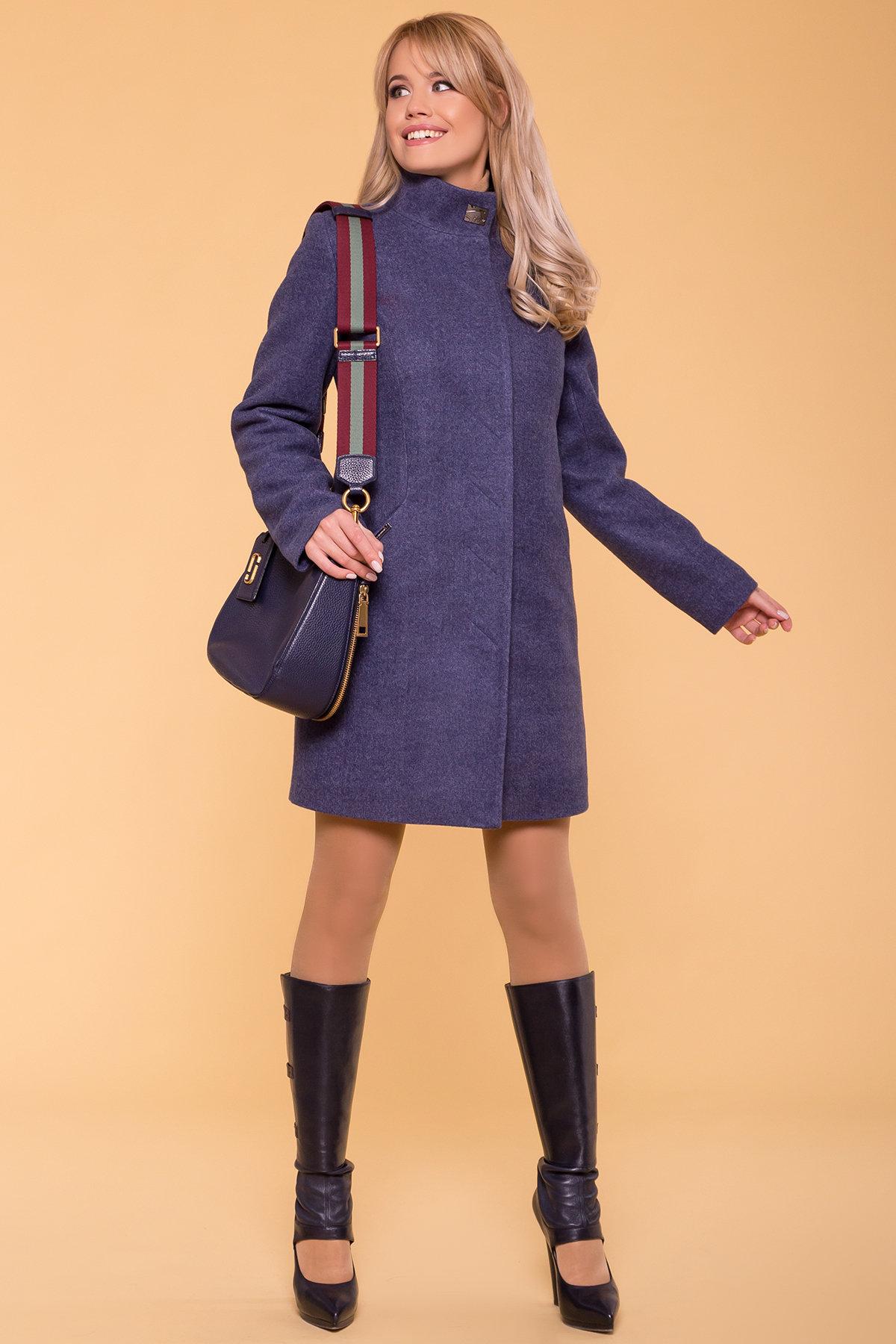 Зимнее пальто с шарфом Сплит 5834 Цвет: Джинс 57