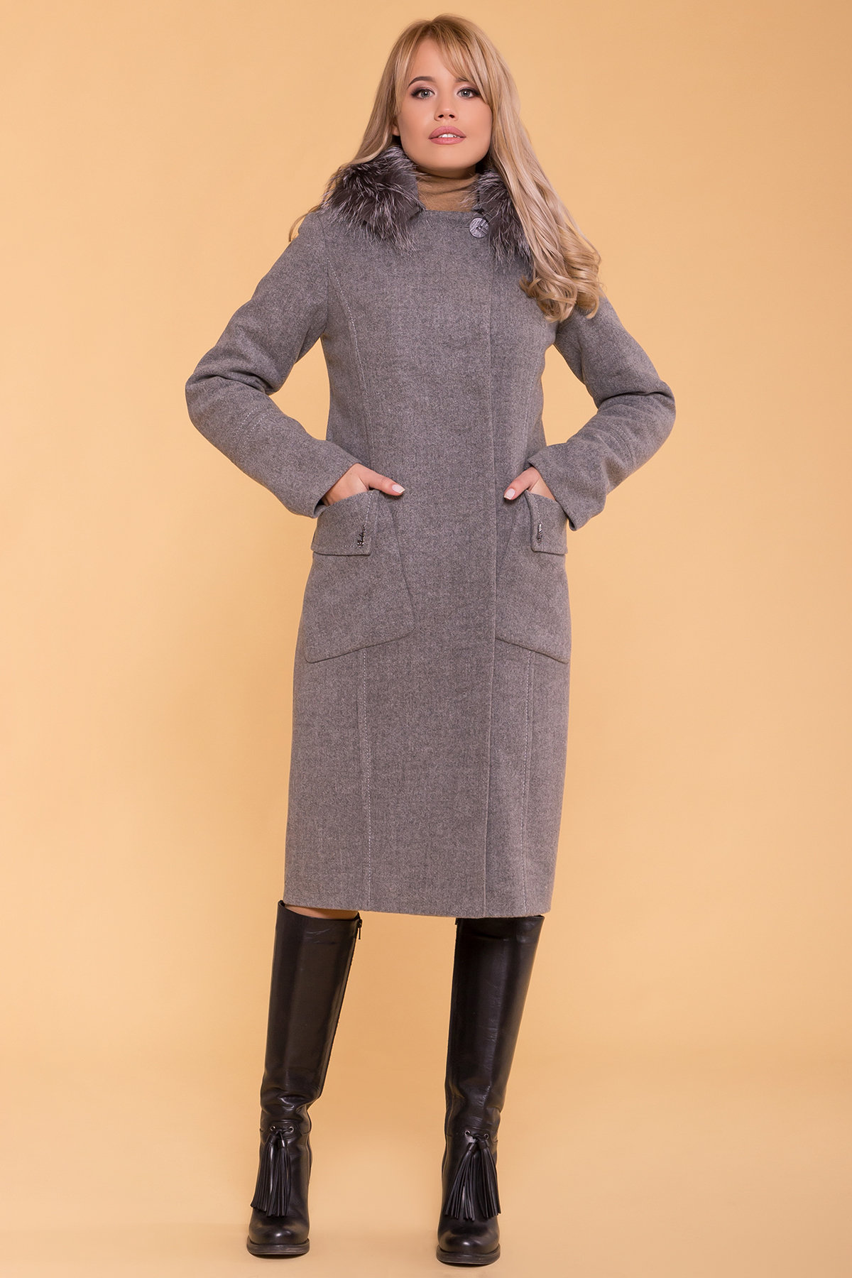 Зимнее пальто с мехом Стейси 5647 АРТ. 37855 Цвет: Серый 18 - фото 7, интернет магазин tm-modus.ru