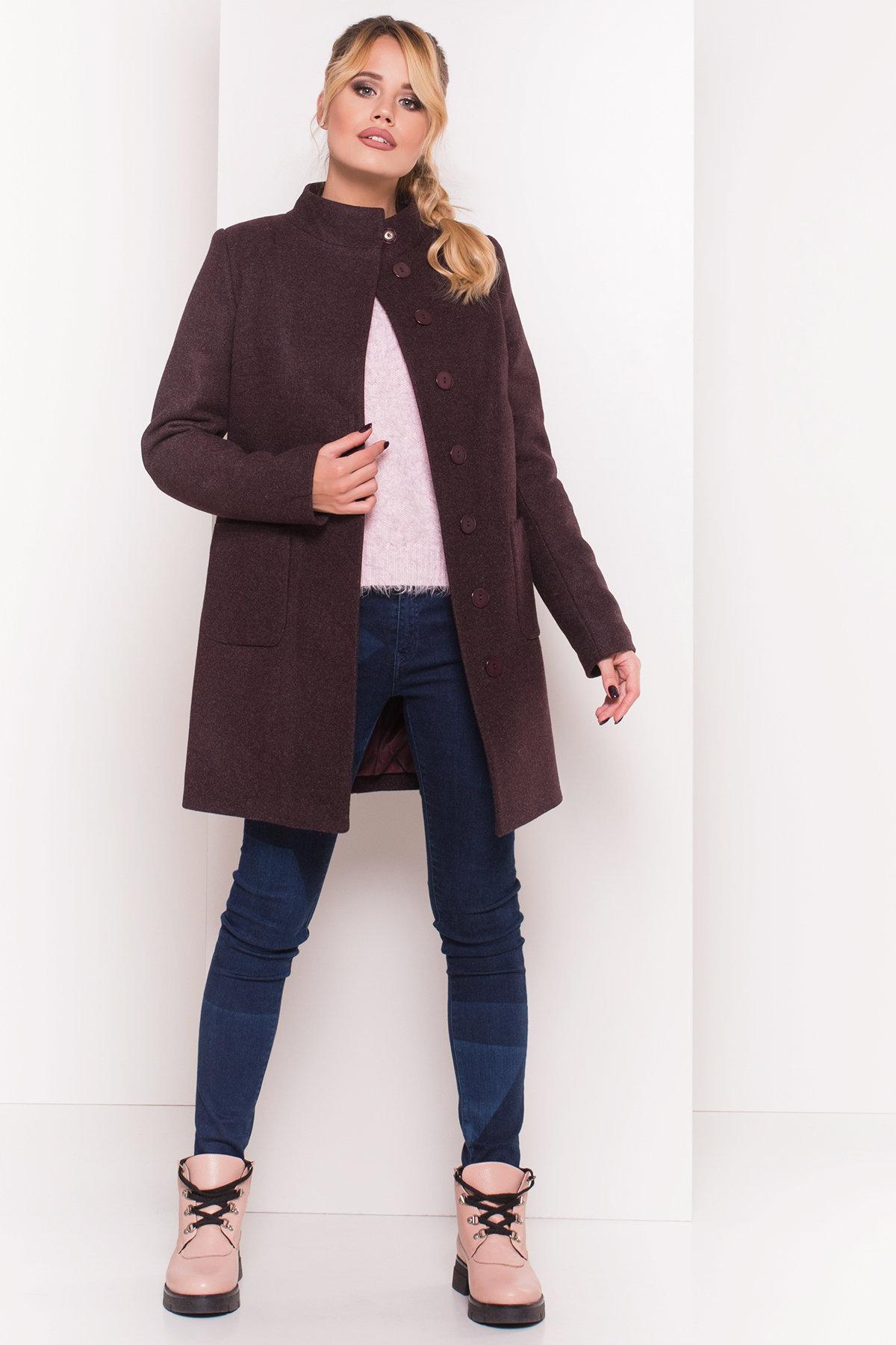 Пальто зима с хомутом Мелини 5644 АРТ. 38236 Цвет: Марсала 5 - фото 3, интернет магазин tm-modus.ru