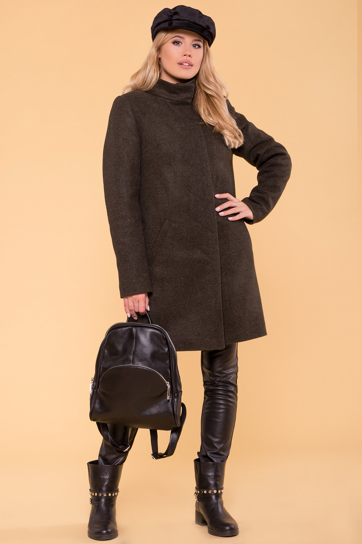 Зимнее пальто с хомутом Фортуна лайт 5802 АРТ. 40535 Цвет: Хаки 16 - фото 4, интернет магазин tm-modus.ru