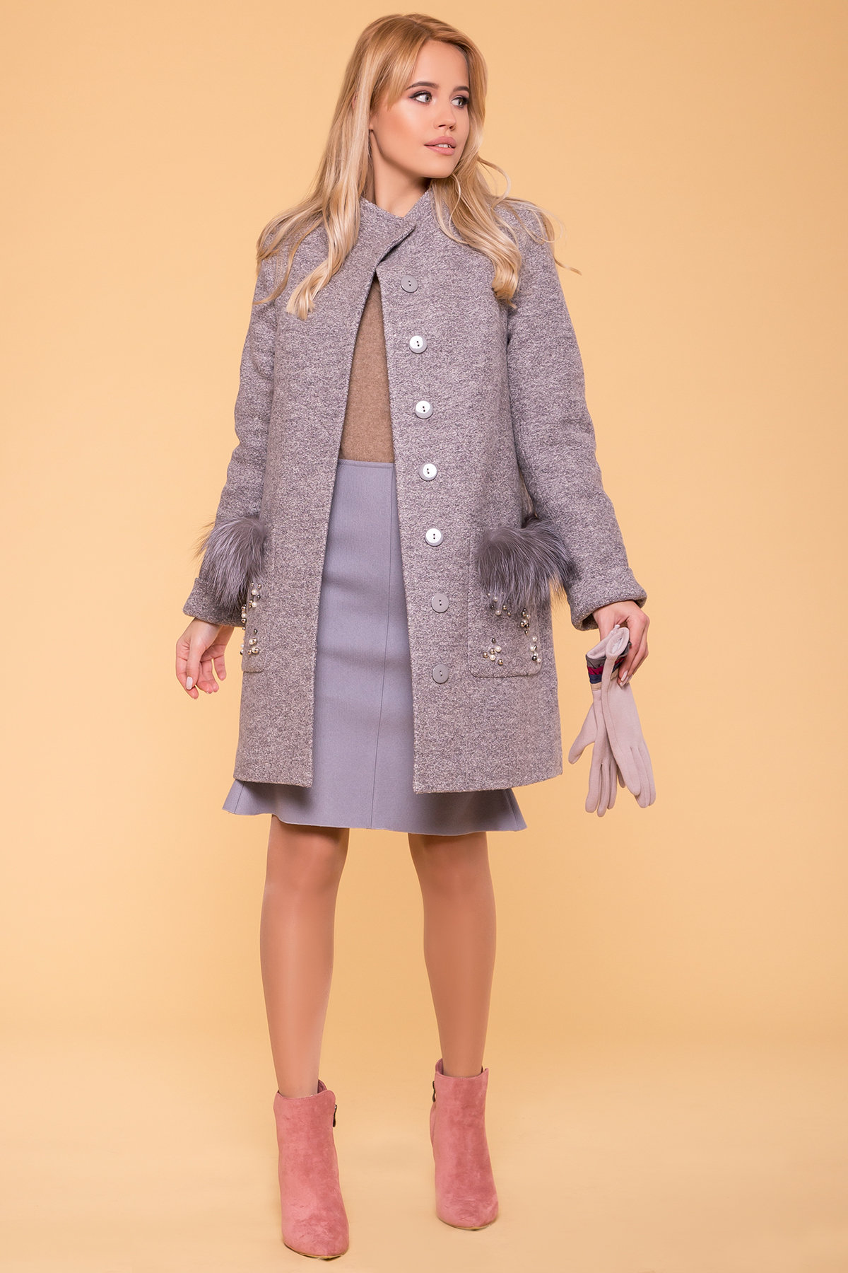 Пальто зима Ажен 5956 Цвет: Серый LW-10
