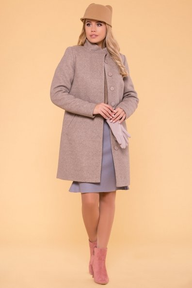 Зимнее пальто с воротником стойка Фортуна лайт 5804 Цвет: Бежевый 10