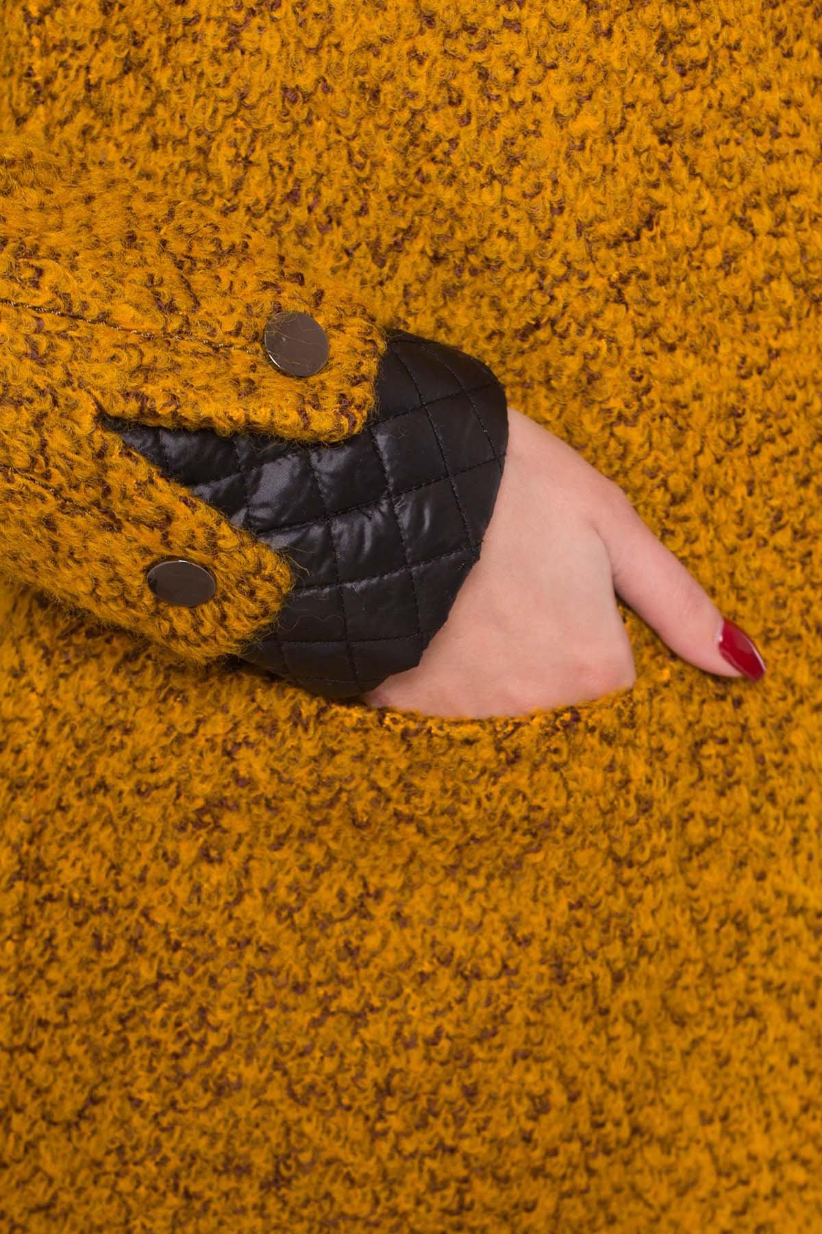 Пальто Астор 1052 Цвет: Горчица/черный
