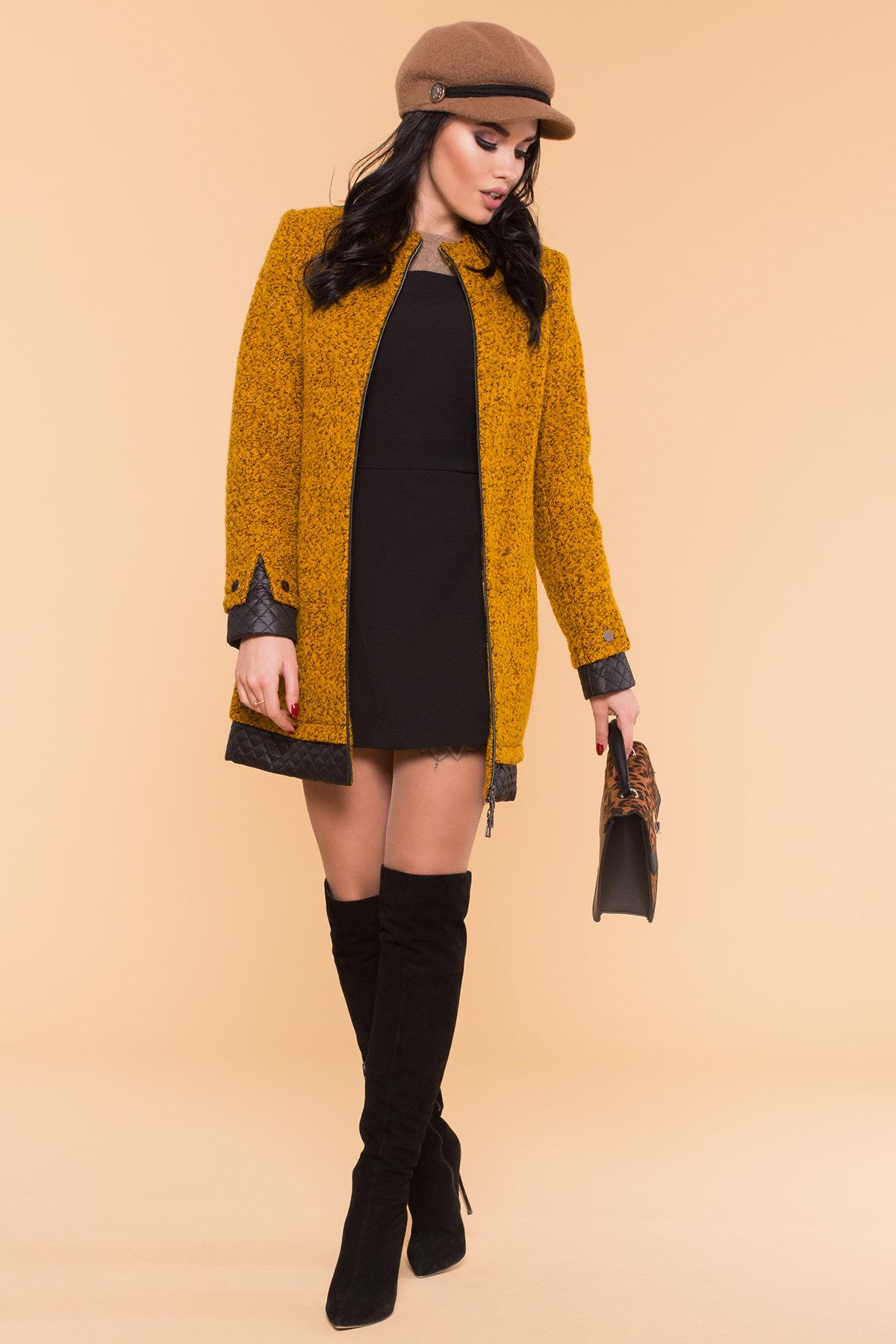 Пальто Амберг 1450  Цвет: Горчица/черный