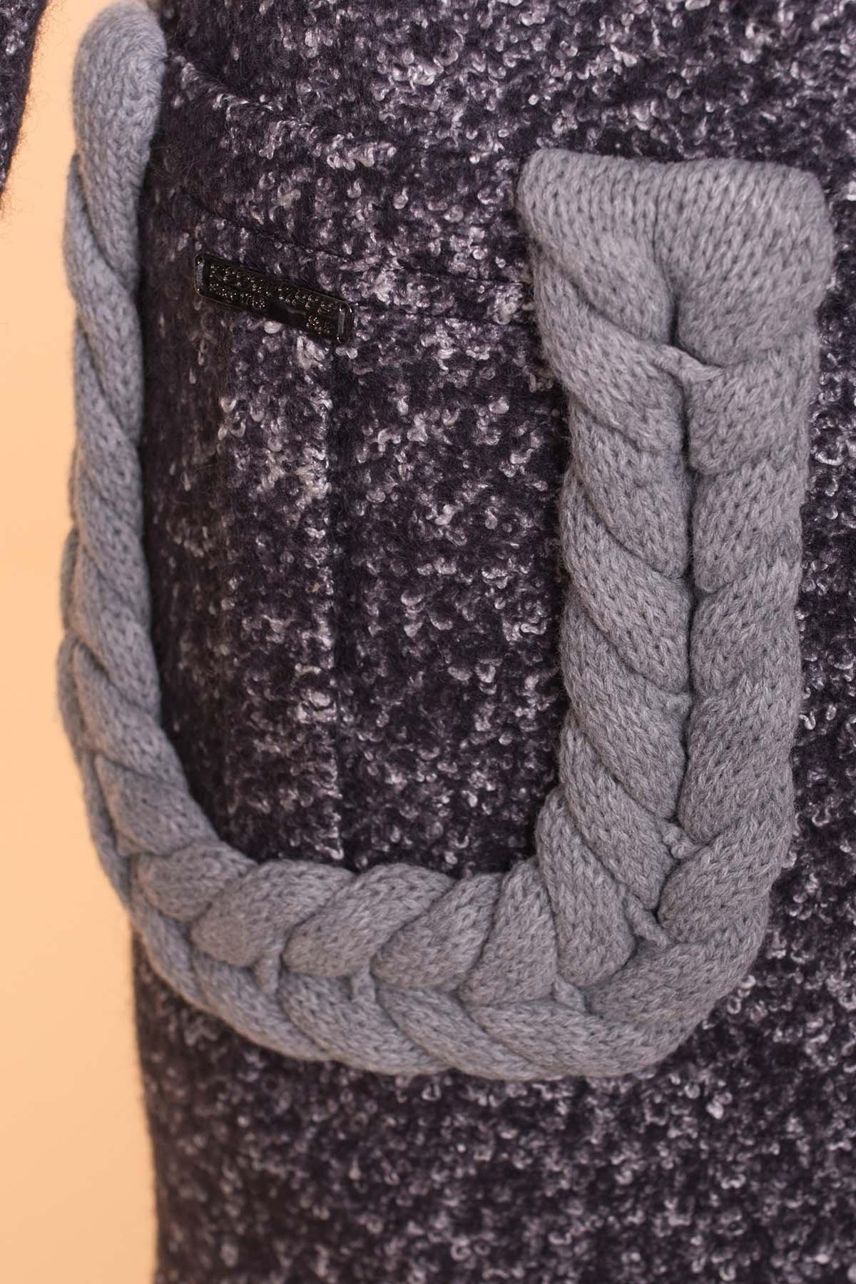 Пальто Женева 1324 АРТ. 9034 Цвет: Тёмно-серый / белый - фото 5, интернет магазин tm-modus.ru