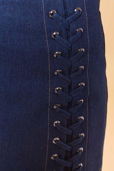 Юбка со шнуровкой Мейс 3440  Цвет: Темный Джинс