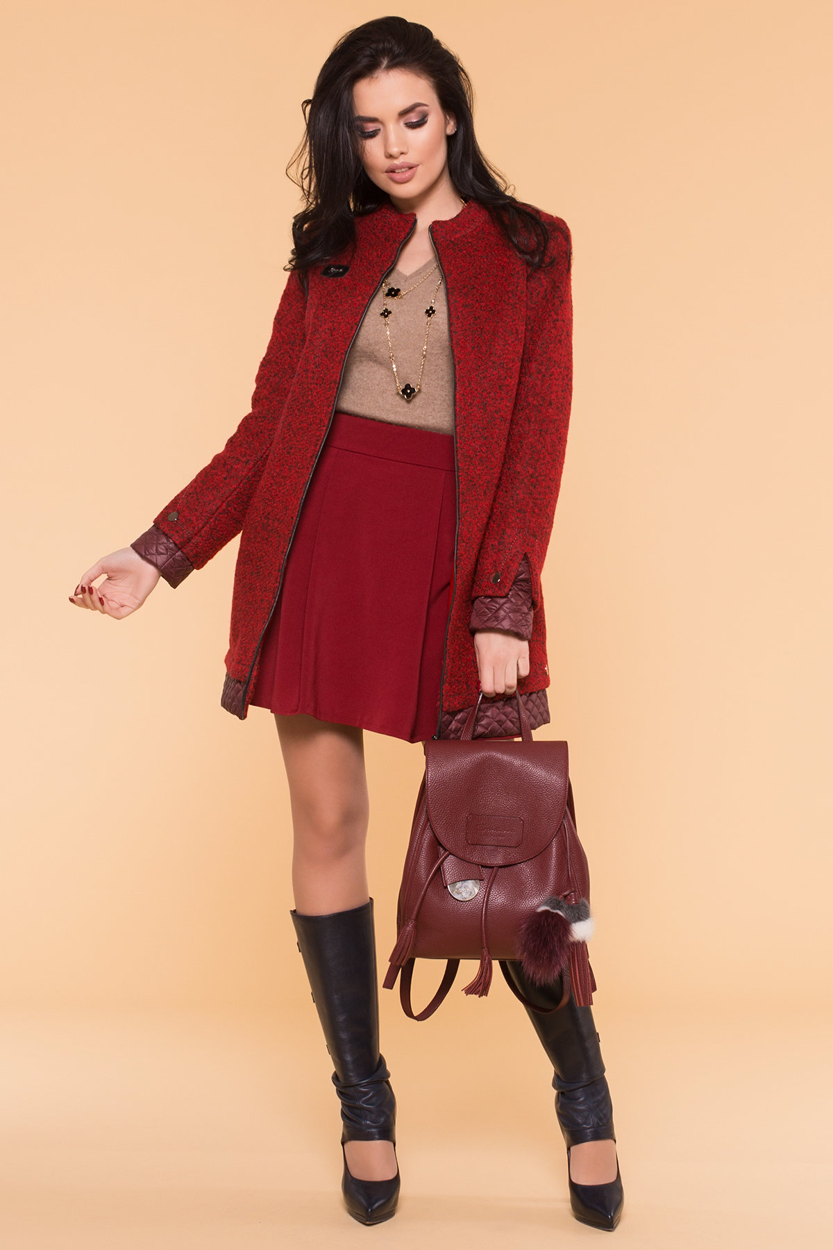Пальто Амберг 1450  АРТ. 9183 Цвет: Красный/черный/бордо - фото 3, интернет магазин tm-modus.ru