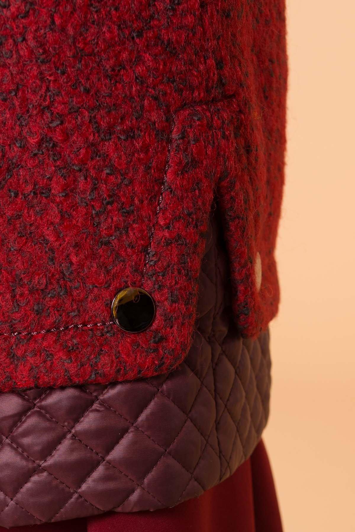 Пальто Амберг 1450  АРТ. 9183 Цвет: Красный/черный/бордо - фото 5, интернет магазин tm-modus.ru