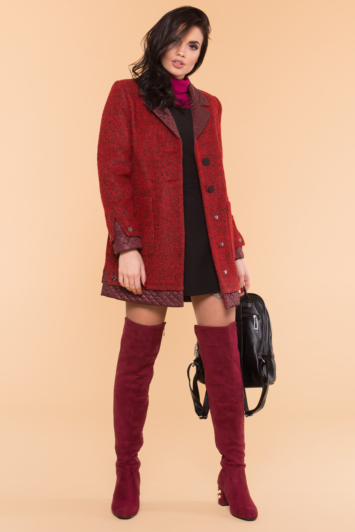 Пальто Астор 1052 АРТ. 9046 Цвет: Красный/черный/бордо - фото 3, интернет магазин tm-modus.ru