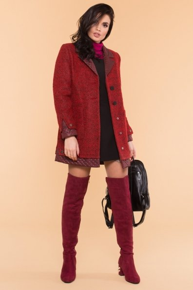 Пальто Астор 1052 Цвет: Красный/черный/бордо
