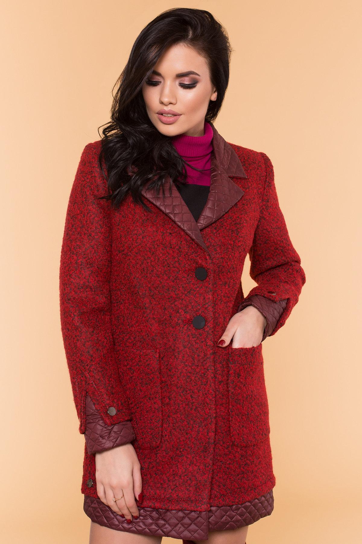Пальто Астор 1052 АРТ. 9046 Цвет: Красный/черный/бордо - фото 4, интернет магазин tm-modus.ru