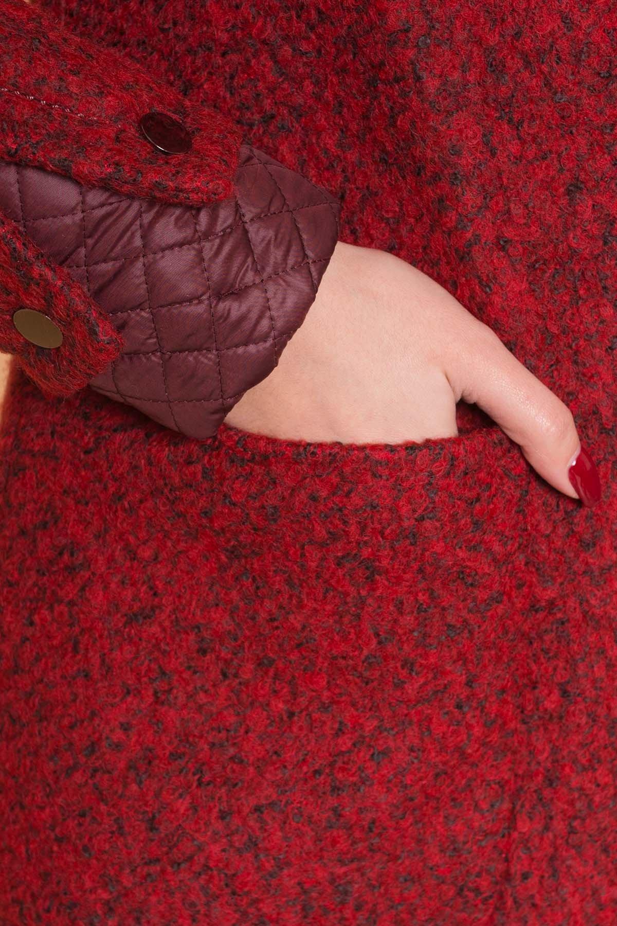 Пальто Астор 1052 АРТ. 9046 Цвет: Красный/черный/бордо - фото 5, интернет магазин tm-modus.ru