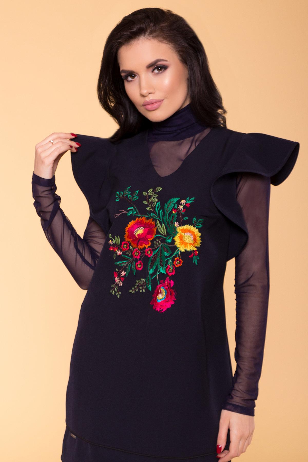 Модное Платье с рукавами из сетки Твинсет 3332 Цвет: Тёмно-синий