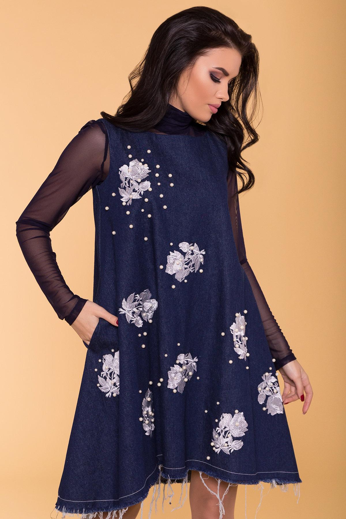 Платье Индира 3404 АРТ. 17362 Цвет: Темный джинс - фото 3, интернет магазин tm-modus.ru