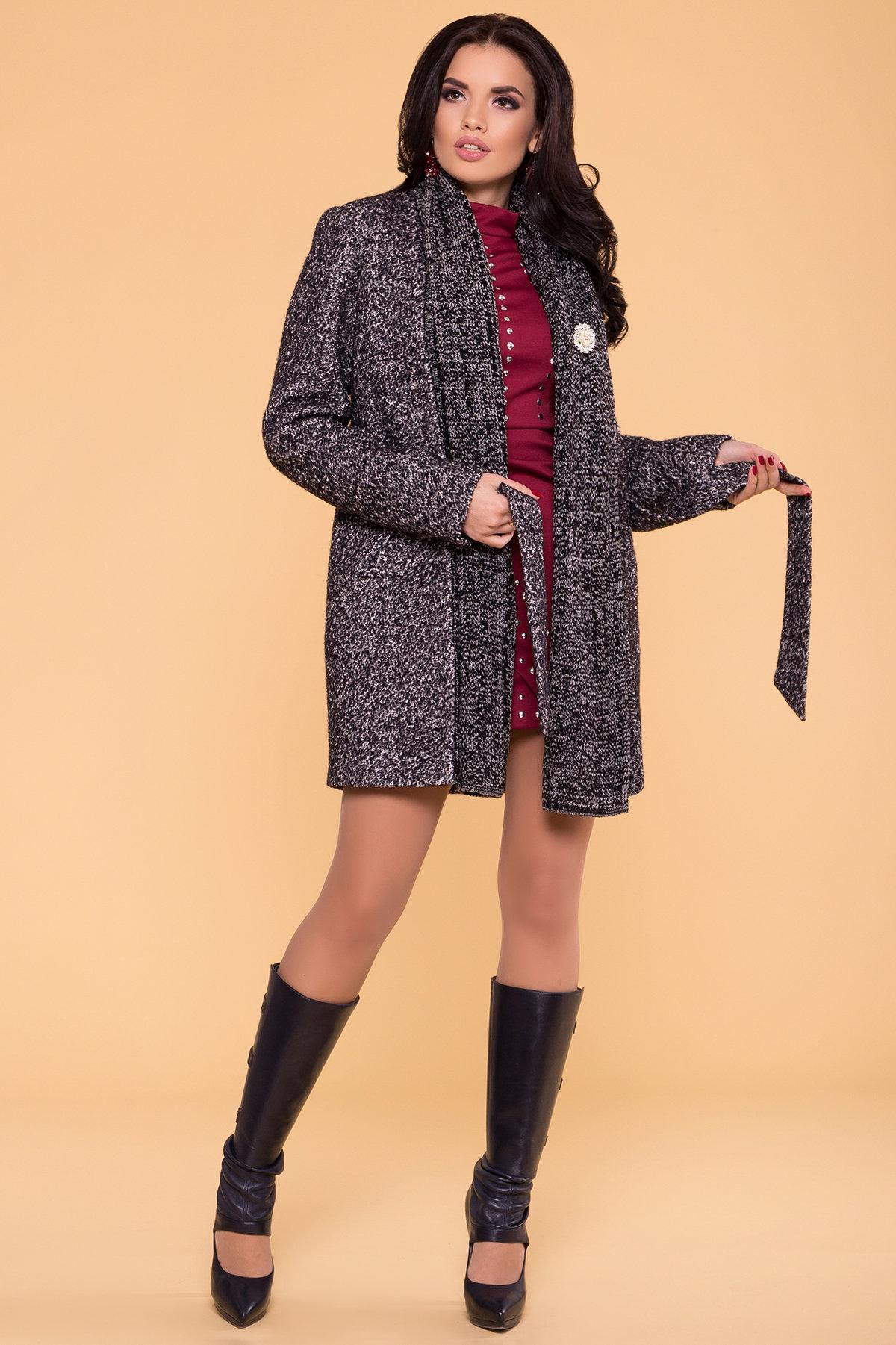 Пальто Капучино 1179   АРТ. 9274 Цвет: Черный/серый - фото 3, интернет магазин tm-modus.ru