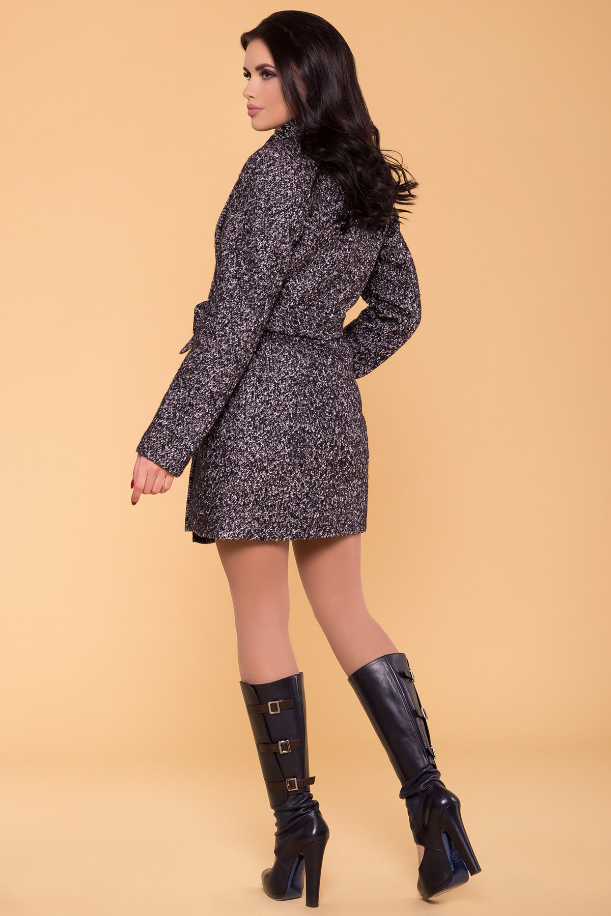 Пальто Капучино 1179   Цвет: Черный/серый
