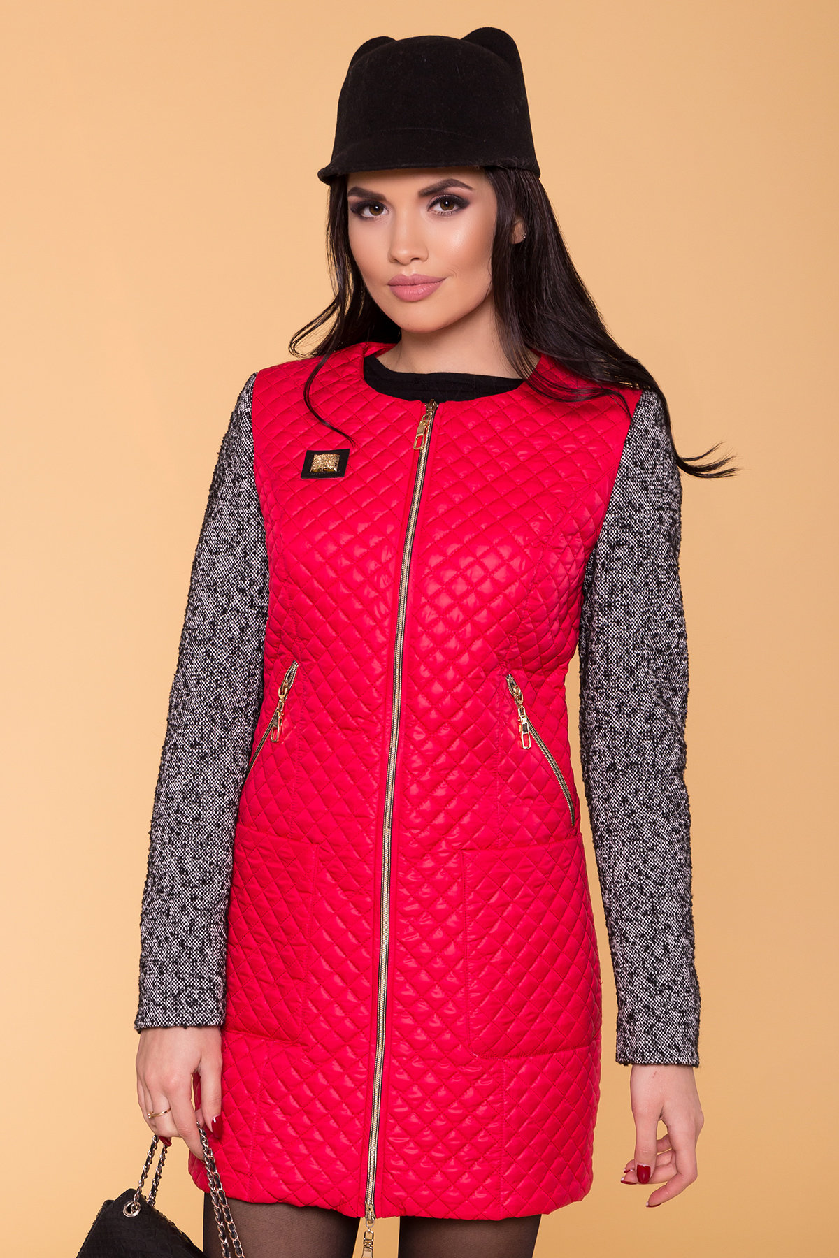 Пальто Матео 4809 АРТ. 5654 Цвет: Красный/Серый 1  - фото 3, интернет магазин tm-modus.ru