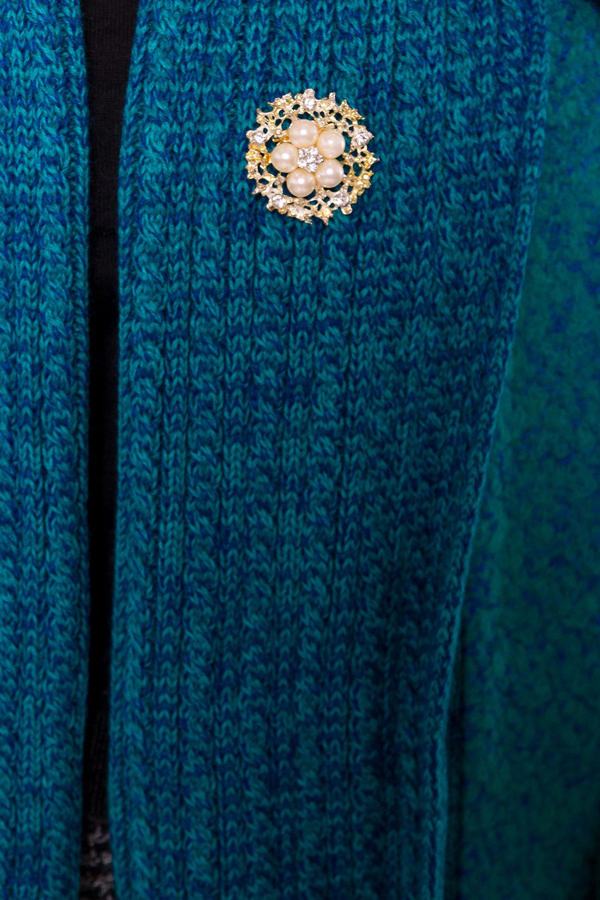 Пальто Капучино 1179   АРТ. 9136 Цвет: Бирюза - фото 5, интернет магазин tm-modus.ru