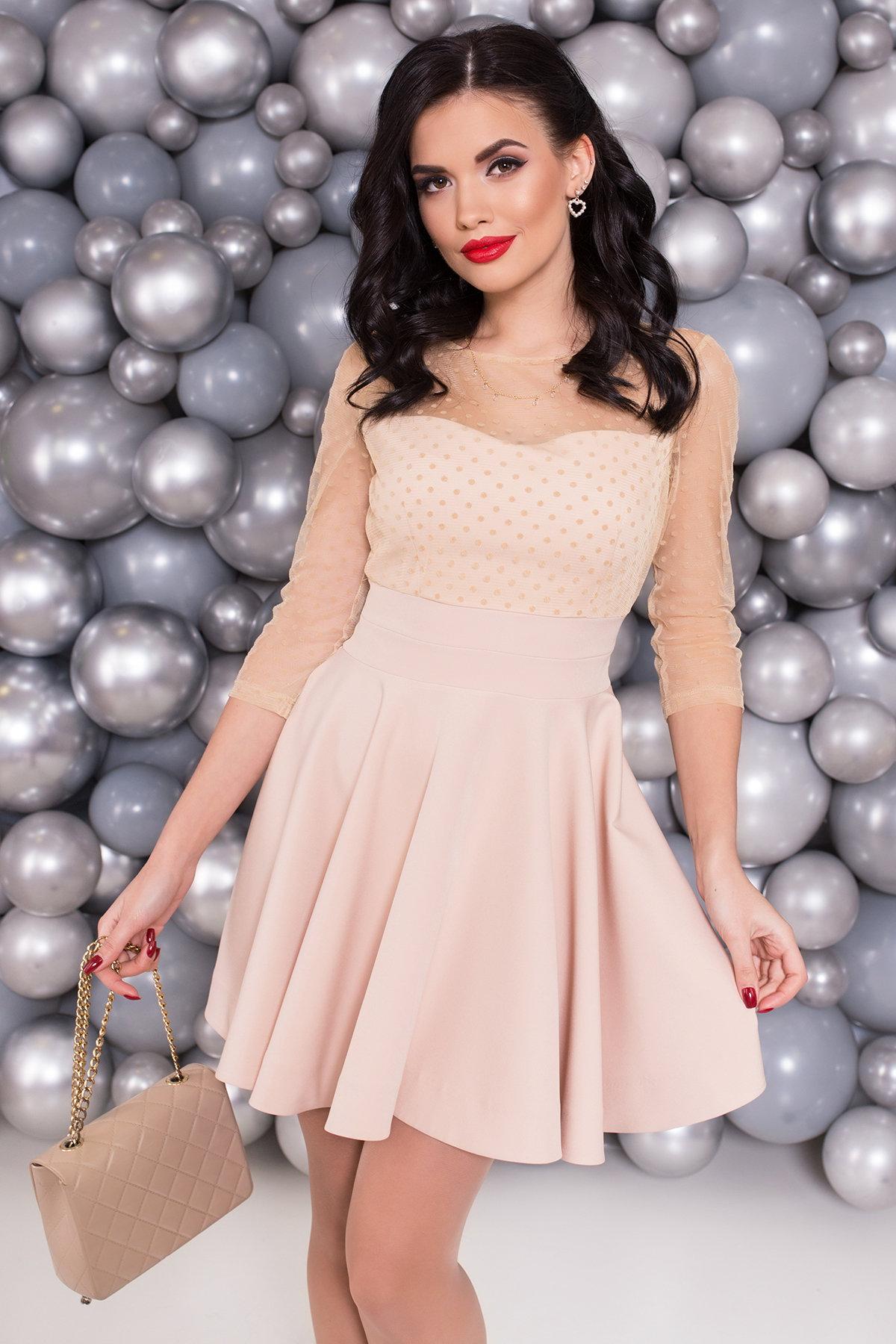 Платье с юбкой солнце Менди 6053 АРТ. 40654 Цвет: Бежевый - фото 3, интернет магазин tm-modus.ru