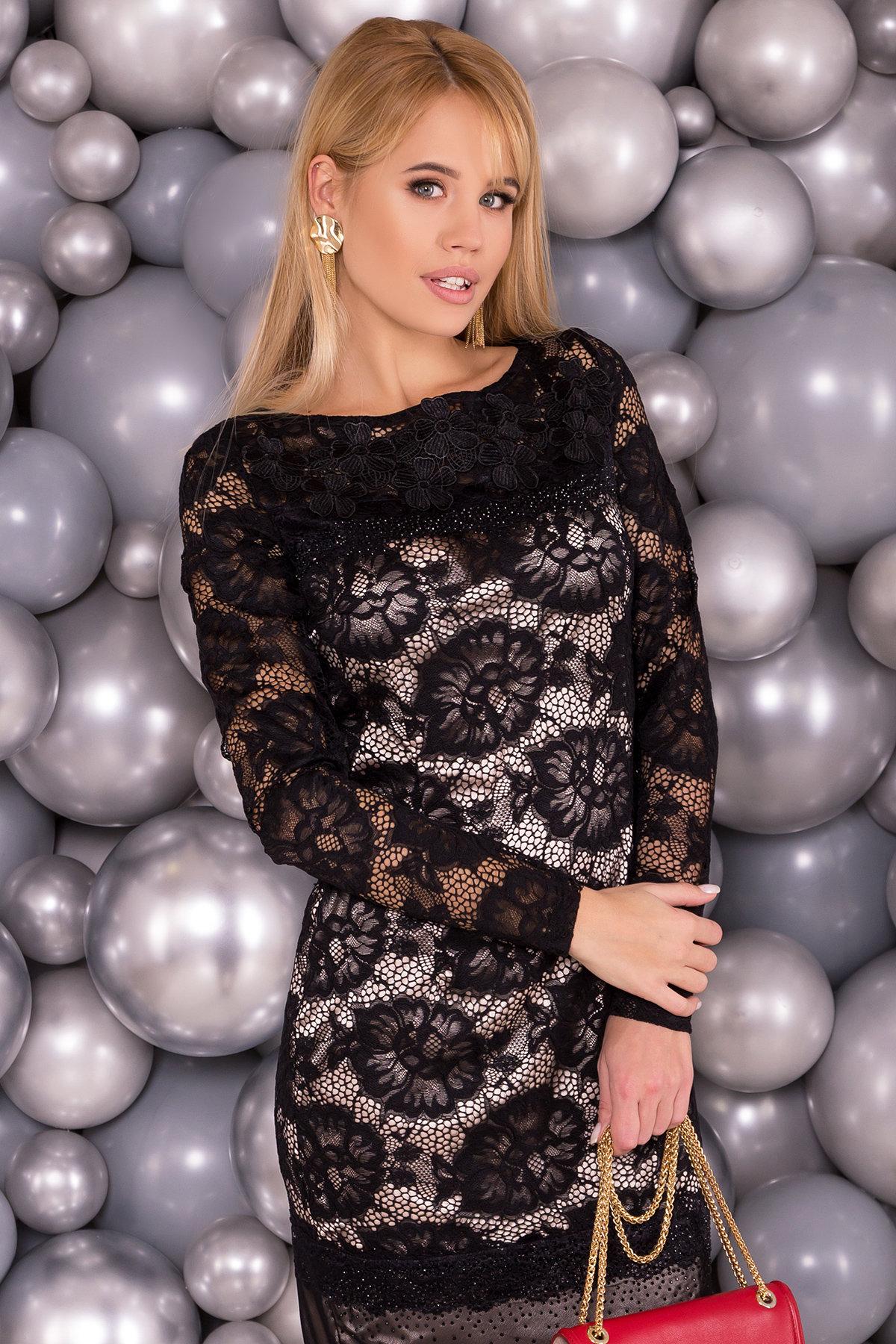 Платье Россини 4189 Цвет: Черн/беж цветы/стразы