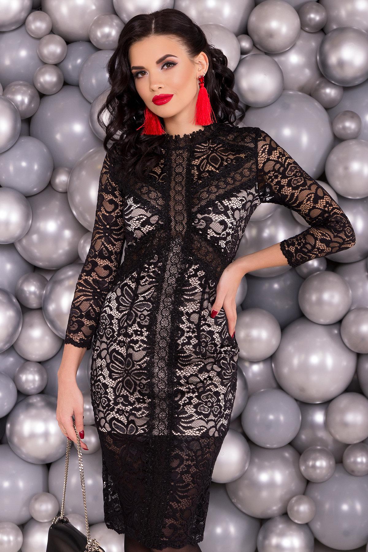 Кружевное Платье Бейба 4280 Цвет: Черный/бежевый